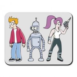 Коврик для мыши Bender, Fry and  Leela with gun