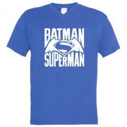 Мужская футболка  с V-образным вырезом Бэтмен vs. Супермен - FatLine