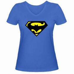 Женская футболка с V-образным вырезом БэтСупермен - FatLine