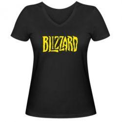 Женская футболка с V-образным вырезом Blizzard Logo - FatLine