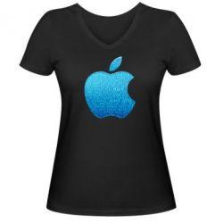Женская футболка с V-образным вырезом Blue Apple - FatLine