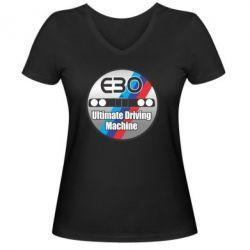 Женская футболка с V-образным вырезом BMW E30 Ultimate Driving Machine - FatLine