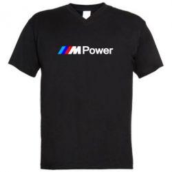 Мужская футболка  с V-образным вырезом BMW M Power logo - FatLine