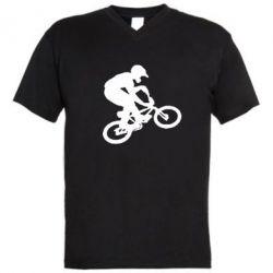 Мужская футболка  с V-образным вырезом BMX Extreme - FatLine