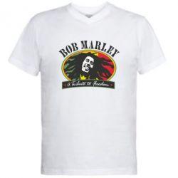 Мужская футболка  с V-образным вырезом Bob Marley A Tribute To Freedom - FatLine