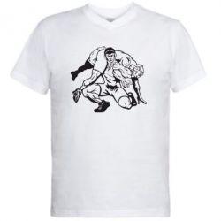 Мужская футболка  с V-образным вырезом Борцы - FatLine