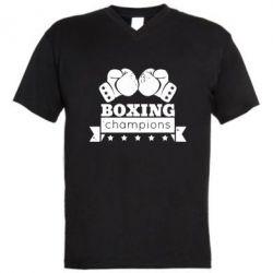 Мужская футболка  с V-образным вырезом Boxing Champions - FatLine