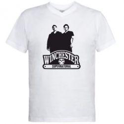 Мужская футболка  с V-образным вырезом Братья Винчестеры сериал - FatLine