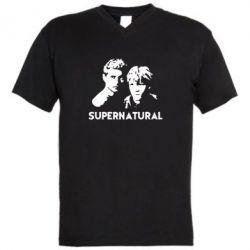 Мужская футболка  с V-образным вырезом Братья Винчестеры Сверхъестественное - FatLine