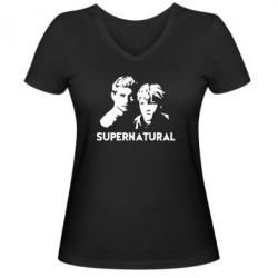 Женская футболка с V-образным вырезом Братья Винчестеры Сверхъестественное - FatLine