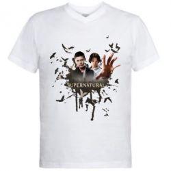 Мужская футболка  с V-образным вырезом Братья - FatLine