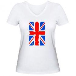 Женская футболка с V-образным вырезом Британский флаг - FatLine