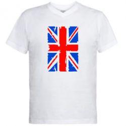 Мужская футболка  с V-образным вырезом Британский флаг - FatLine