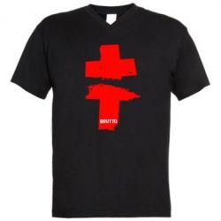 Мужская футболка  с V-образным вырезом Brutto Logo - FatLine