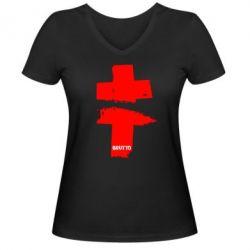 Женская футболка с V-образным вырезом Brutto Logo - FatLine