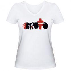 Женская футболка с V-образным вырезом Брутто