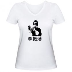 Жіноча футболка з V-подібним вирізом Брюс лі - FatLine