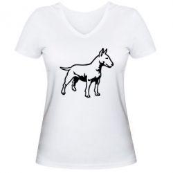Женская футболка с V-образным вырезом Бульерьер - FatLine