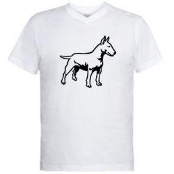 Мужская футболка  с V-образным вырезом Бульерьер - FatLine