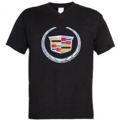 Мужская футболка  с V-образным вырезом Cadillac - FatLine