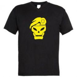 Мужская футболка  с V-образным вырезом Call of Duty Black Ops logo - FatLine