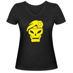 Женская футболка с V-образным вырезом Call of Duty Black Ops logo - FatLine