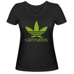 Женская футболка с V-образным вырезом Cannabis - FatLine