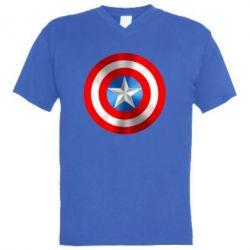 Мужская футболка  с V-образным вырезом Captain America 3D Shield - FatLine