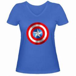 Женская футболка с V-образным вырезом Captain America 3D Shield - FatLine