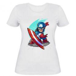 Женская футболка Cartoon Captain America - FatLine