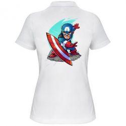 Женская футболка поло Cartoon Captain America - FatLine