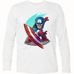 Футболка с длинным рукавом Cartoon Captain America - FatLine