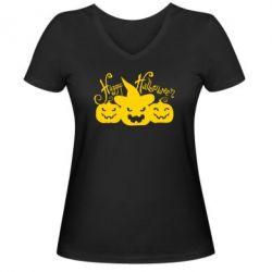 Женская футболка с V-образным вырезом Cчастливого Хэллоуина - FatLine