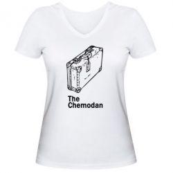 Женская футболка с V-образным вырезом Чемодан Logo - FatLine