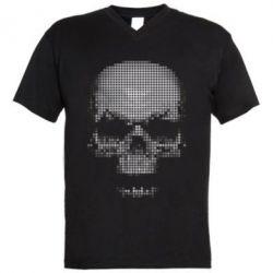 Мужская футболка  с V-образным вырезом Череп из пикселей - FatLine