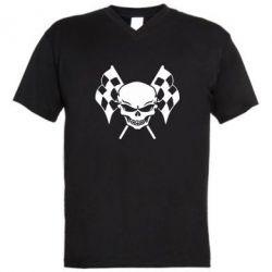 Мужская футболка  с V-образным вырезом Череп Стрит Рейсинг - FatLine