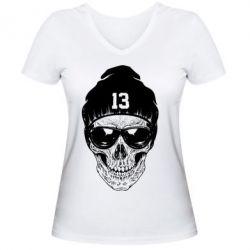 Женская футболка с V-образным вырезом Череп в шапке - FatLine