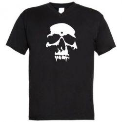Мужская футболка  с V-образным вырезом Череп - FatLine