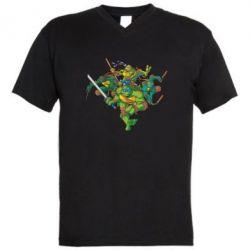 Мужская футболка  с V-образным вырезом Черепашки-ниндзя - FatLine
