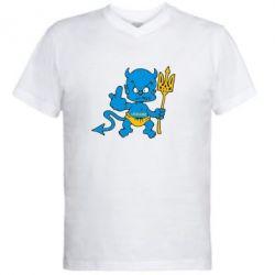 Мужская футболка  с V-образным вырезом Чертик з трезубом - FatLine