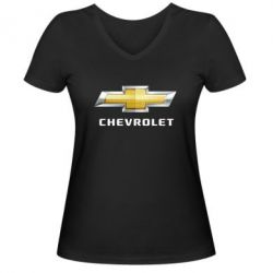 Женская футболка с V-образным вырезом Chevrolet Logo