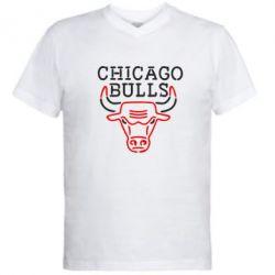 Мужская футболка  с V-образным вырезом Chicago Bulls Logo - FatLine