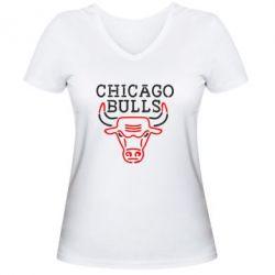 Женская футболка с V-образным вырезом Chicago Bulls Logo - FatLine