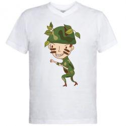 Мужская футболка  с V-образным вырезом Cміливий солдат
