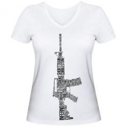 Женская футболка с V-образным вырезом Counter Strike M16 - FatLine