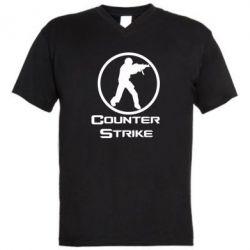 Мужская футболка  с V-образным вырезом Counter Strike - FatLine