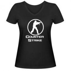 Женская футболка с V-образным вырезом Counter Strike - FatLine