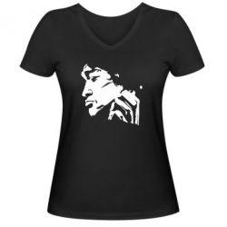 Женская футболка с V-образным вырезом Цой