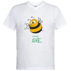Мужская футболка  с V-образным вырезом Crazy Bee - FatLine