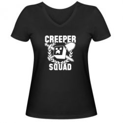 Женская футболка с V-образным вырезом Creeper Squad - FatLine
